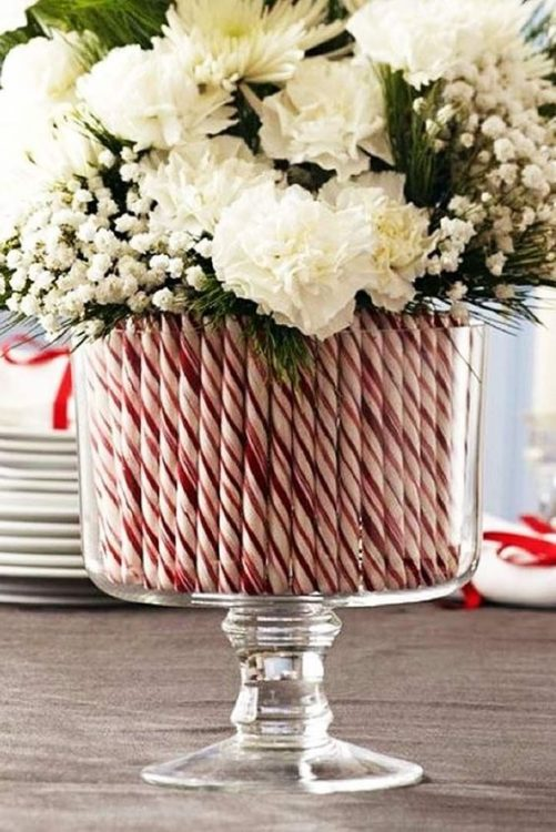 easy holiday centerpiece idea candy canes