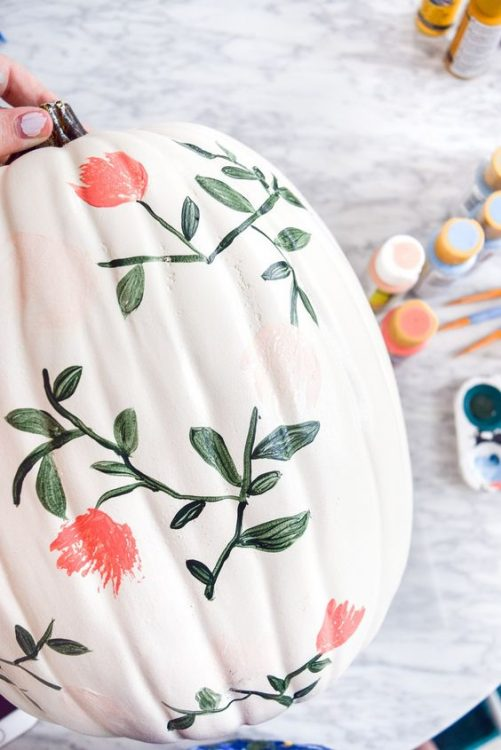 easy pumpkin painting ideas floral pumpkin