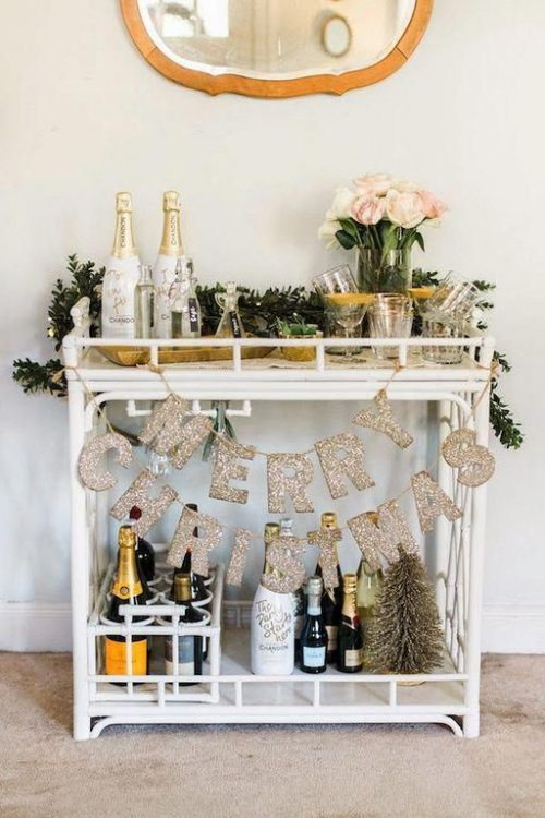 holiday bar cart idea for Christmas holiday cocktail party
