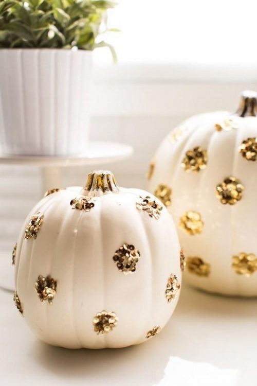 gold sequin pumpkins