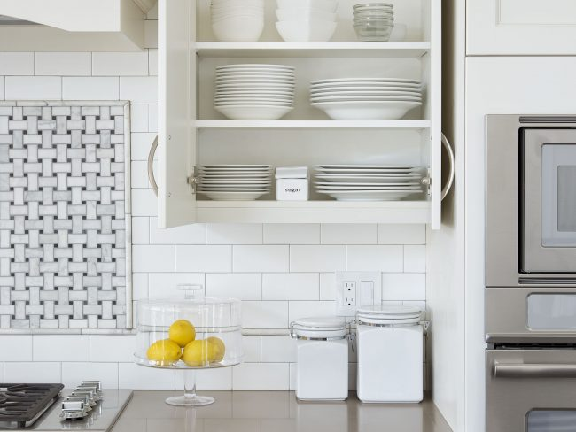 store plates and bowls in cabinets
